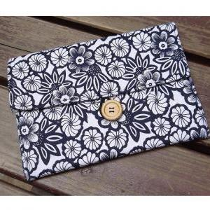 Apple Navy Blue Floral Fabric iPad ..