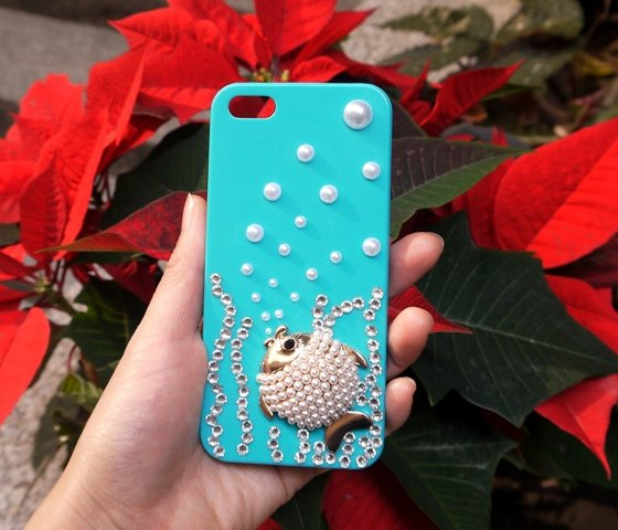 Fantacy Bling Pearl Fish Rhinestone iPhone 5 5s Case