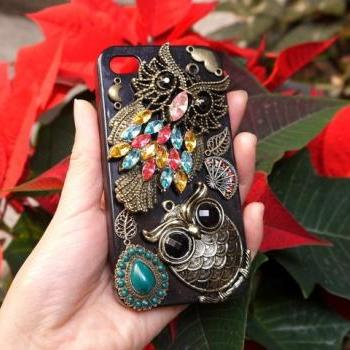 Fantacy Copper Two Owls Black Case For iPhone 4 4s