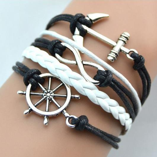 Navy Anchor bracelet charm bracelet Peace white braided leather bracelet