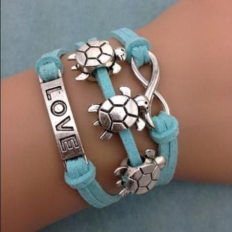 Blue Turtle love bracelet charm bracelet infinity leather bracelet
